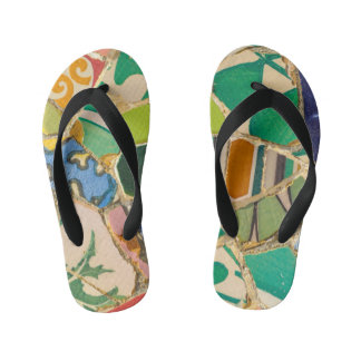 Green Parc Guell Tiles in Barcelona Spain Kid's Thongs