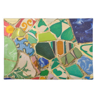 Green Parc Guell Tiles in Barcelona Spain Placemat