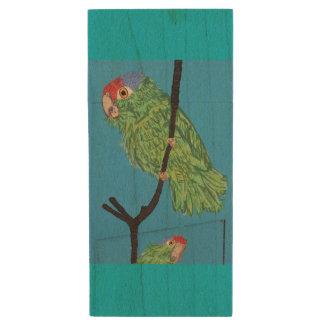 green parrot flash wood usb wood USB 3.0 flash drive