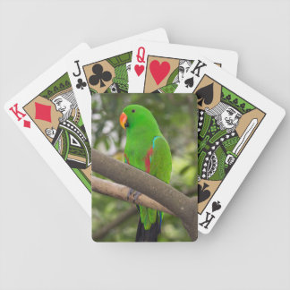 Green Parrot Portrait Bicycle Playing Cards