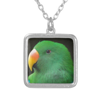 Green Parrot Profile Silver Plated Necklace