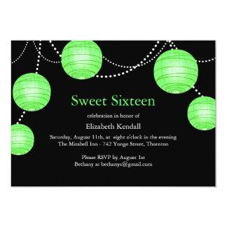 Green Party Lantern Sweet 16 Birthday Invitation