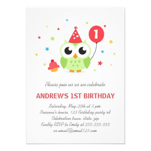 Green party owl with balloon and cupcake birthday invite