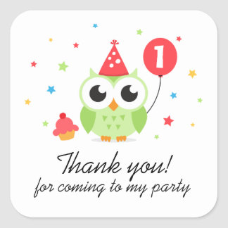 Green party owl with balloon birthday thank you square sticker