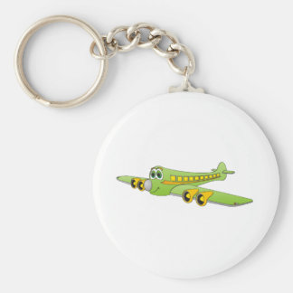 Green Passenger Jet Cartoon Basic Round Button Key Ring