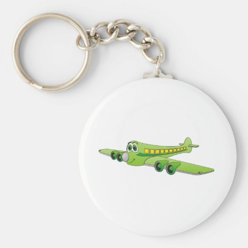Green Passenger Jet Cartoon Key Chain