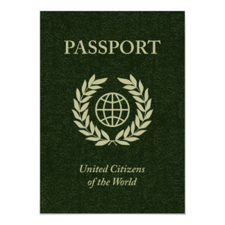 green passport 13 cm x 18 cm invitation card