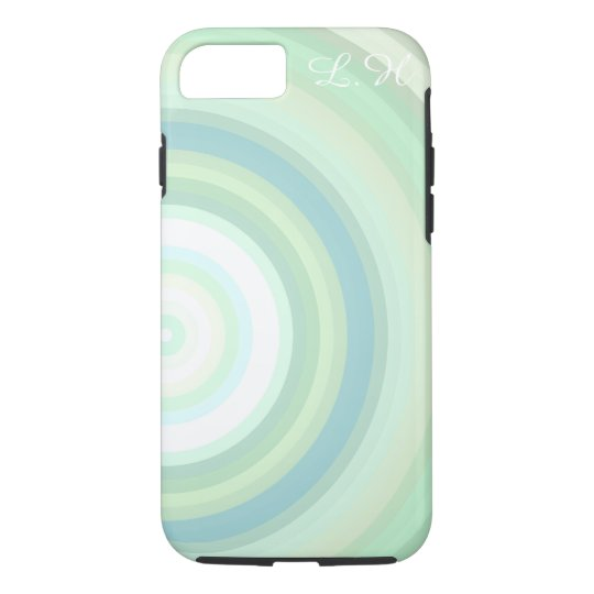 Green Pastel circles Monogrammed customisable iPhone 7 Case