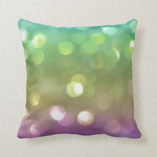 Green Pastel Rainbow Bokeh Glitter Throw Pillow