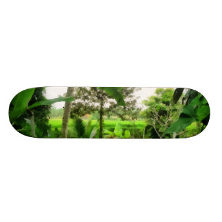 Green patch and fields skate board deck
