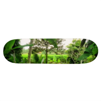 Green patch and fields skateboard deck