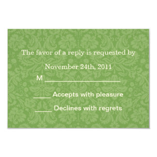 Green Pattern Background RSVP Cards Invites