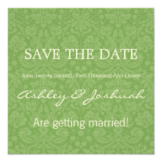 Green Pattern Background Save The Date Invites