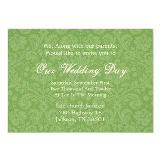 Green Pattern  Background  Wedding Invites