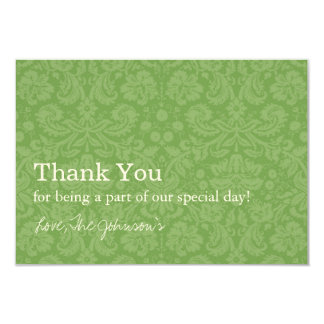 Green Pattern  Background Wedding Thank You Cards 9 Cm X 13 Cm Invitation Card