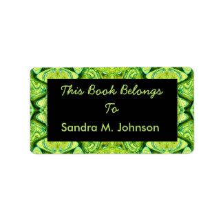 green pattern book plates address label
