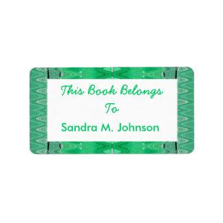 green pattern bookplates address label