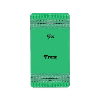 green pattern gift tags address label