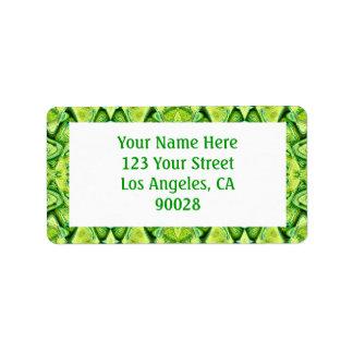 green pattern address label