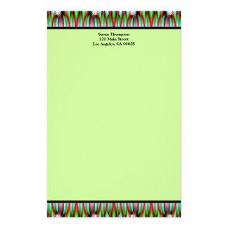 green pattern personalized stationery
