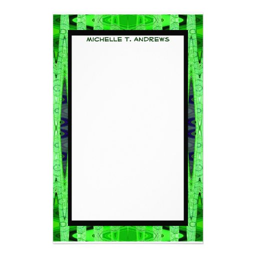green pattern customized stationery