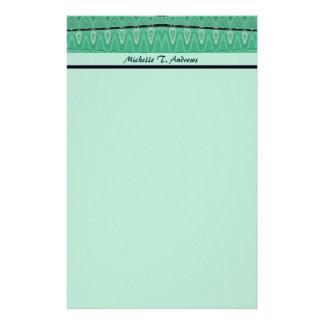 green pattern stationery paper