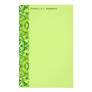 green pattern custom stationery