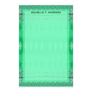 green pattern stationery design