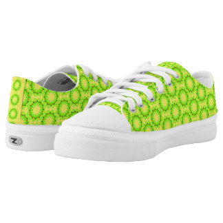Green pattern with red black yellow shapes inside low tops