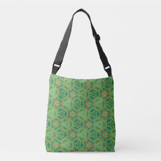 Green patterned cross body bag