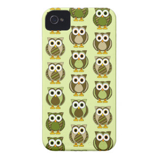 Green Patterned Owls Dots and Stripes iPhone 4 Case-Mate Case