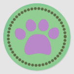 Green Paw Print Sticker