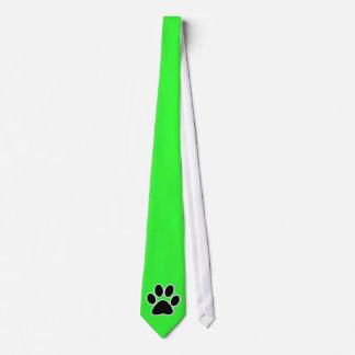 Green Paw Print Tie