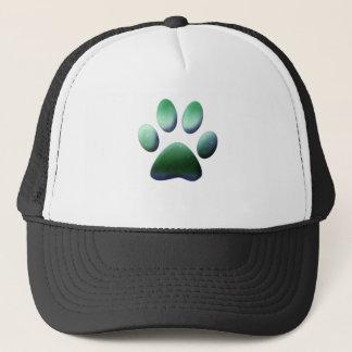 Green Paw Print Trucker Hat