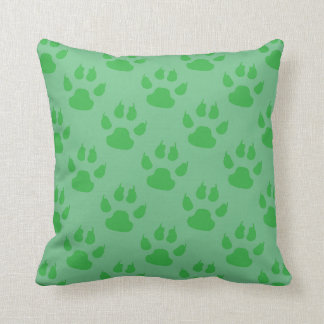 Green Paw Prints Throw Pillow
