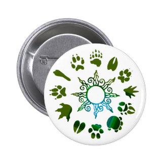 Green pawprint circle pinback buttons