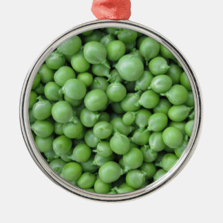 Green pea background . Texture of ripe green peas Metal Ornament