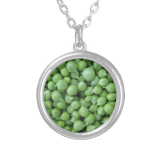 Green pea background . Texture of ripe green peas Silver Plated Necklace