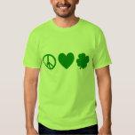 Green Peace Love & Shamrocks Tee Shirts