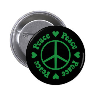 Green Peace Sign and Hearts Button