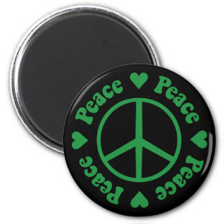 Green Peace Sign and Hearts Magnet