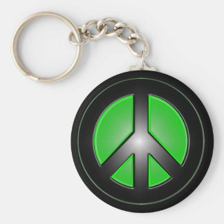 green peace sign basic round button key ring