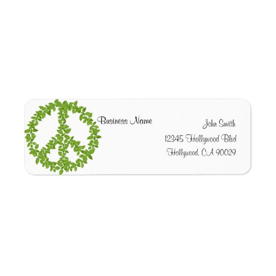 Green Peace Sign Business Address Label