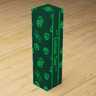 Green Peace Sign Pattern w/ Custom Text Wine Gift Box