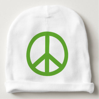 Green Peace Sign Symbol Baby Beanie