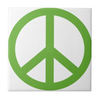 Green Peace Sign Symbol Ceramic Tile