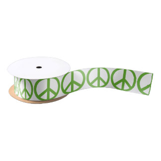 Green Peace Sign Symbol Satin Ribbon