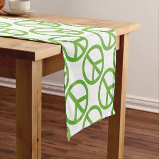 Green Peace Sign Symbol Short Table Runner