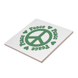 Green Peace Symbol Tile