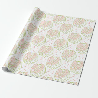 green_peach_cupcake_with_icing wrapping paper